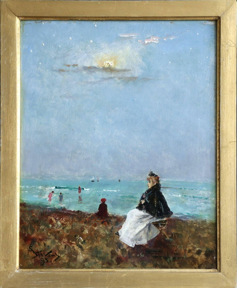 Sur la Plage - 19th Century Oil, Figures at the Beach Seascape by Alfred Stevens - Painting by Alfred Émile Léopold Stevens