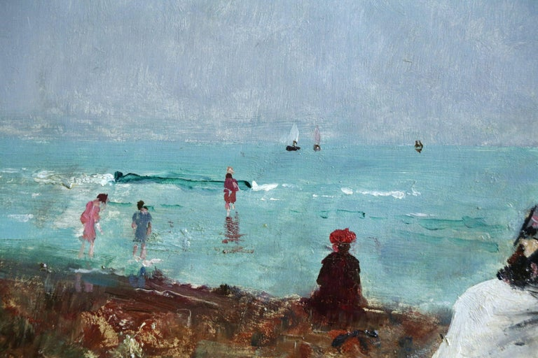 Sur la Plage - 19th Century Oil, Figures at the Beach Seascape by Alfred Stevens - Blue Landscape Painting by Alfred Émile Léopold Stevens