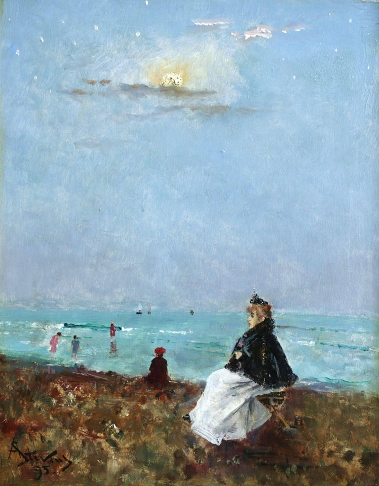 Alfred Émile Léopold Stevens Landscape Painting - Sur la Plage - 19th Century Oil, Figures at the Beach Seascape by Alfred Stevens