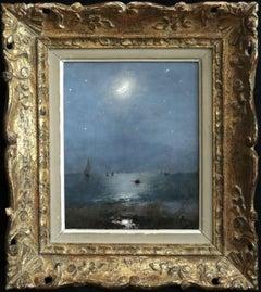The Moon & Stars - 19th Century Oil, Starry Night Sea Landscape - Alfred Stevens