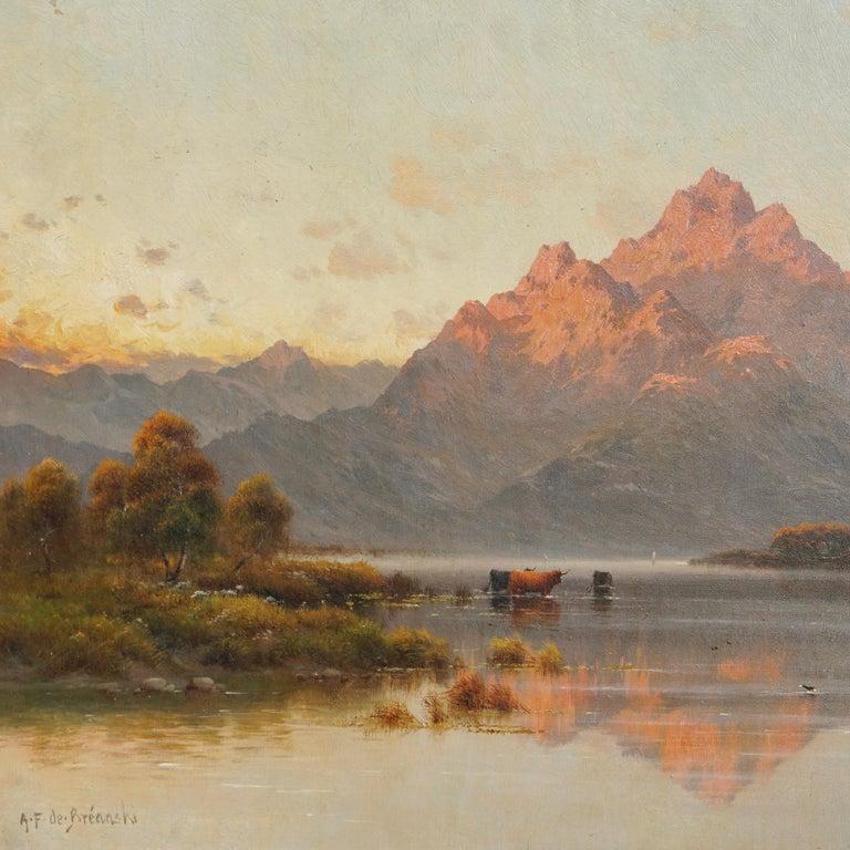 """Barbizon School Alfred Fontville De Breanski """"Evening-Llyn Gerioneed, N. Wales"""
