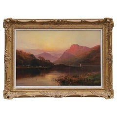 """North Wales, No. 667"" Landscape Painting with Pink and Orange Tones"