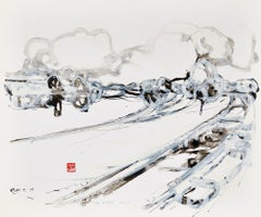 First Snow, Contemporary Abstract Expressionist Art Ink Paper Black White
