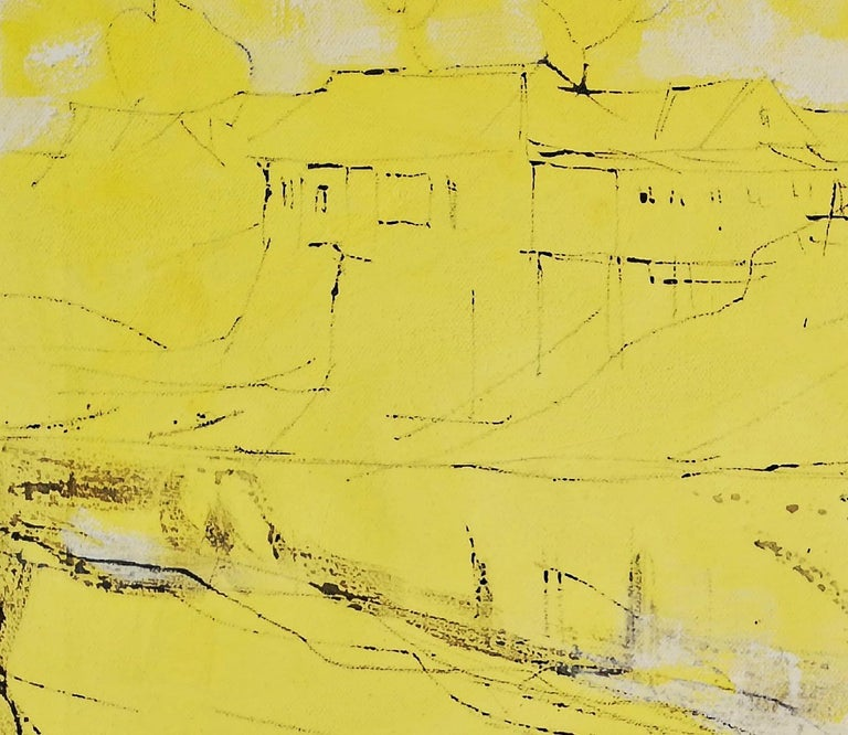 It's a New Day, Alfred Freddy Krupa, Ink Art, Oil Painting, Landscape, Yellow For Sale 1