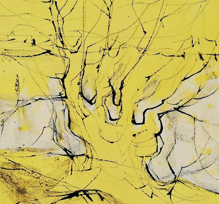It's a New Day, Alfred Freddy Krupa, Ink Art, Oil Painting, Landscape, Yellow For Sale 2