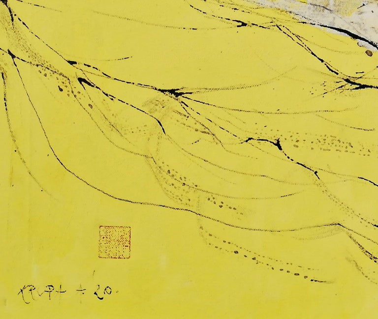 It's a New Day, Alfred Freddy Krupa, Ink Art, Oil Painting, Landscape, Yellow For Sale 3