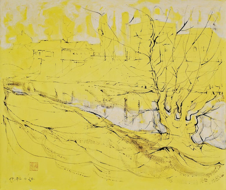 'it's a New Day' by Alfred Freddy Krupa - an eye-catching abstract expressionist ink art of a yellow landscape. Ink is applied to oil painting creating a dynamic visual with a different texture. This is a statement piece that will fit many interiors
