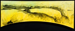 The Japanese Girl, Contemporary Abstract Expressionist Black Yellow Ink Canvas