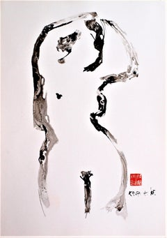 While Fixing Hair, Contemporary Abstract Expressionist Ink Paper Black Graphic