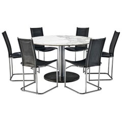Alfred Hendrickx Dining Table with Six Dining Chairs in Black Leather