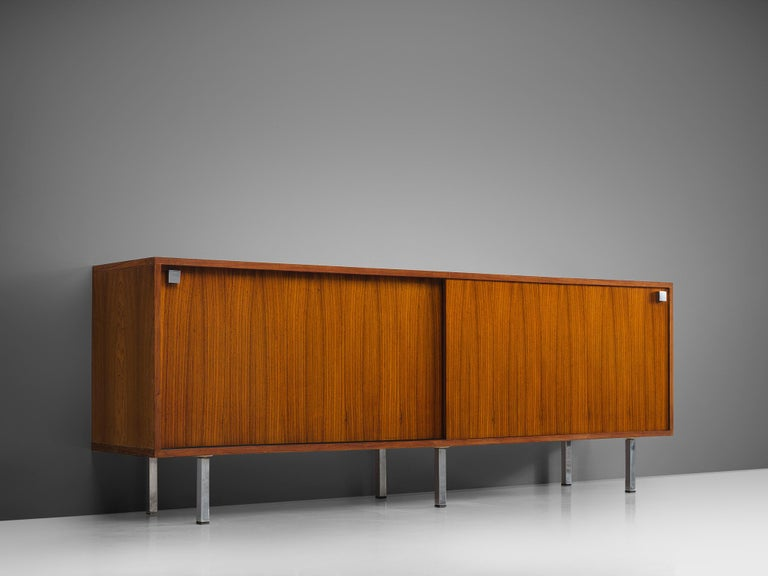 Alfred Hendrickx for Belform, sideboard, rosewood, steel, Belgium, 1960s