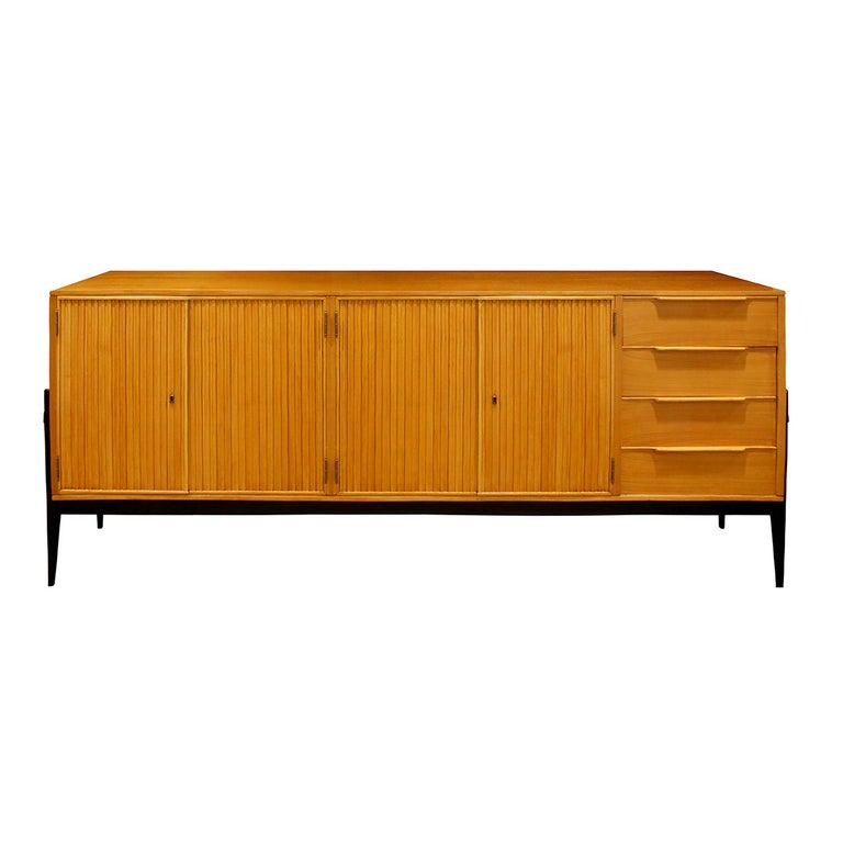 Alfred Hendrickx Large Credenza in Fruitwood, 1950s For Sale