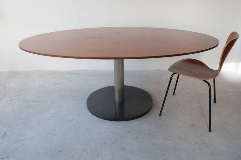Mid-Century Modern Alfred Hendrickx Oval Shaped Walnut Dining Table, Belgium Design, 1962 For Sale