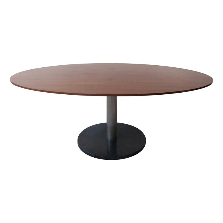 Alfred Hendrickx Oval Shaped Walnut Dining Table, Belgium Design, 1962 For Sale