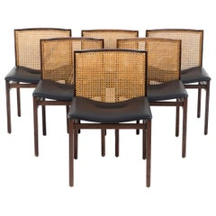 Alfred Hendrickx, Set of six cane rosewood chairs, 1960's