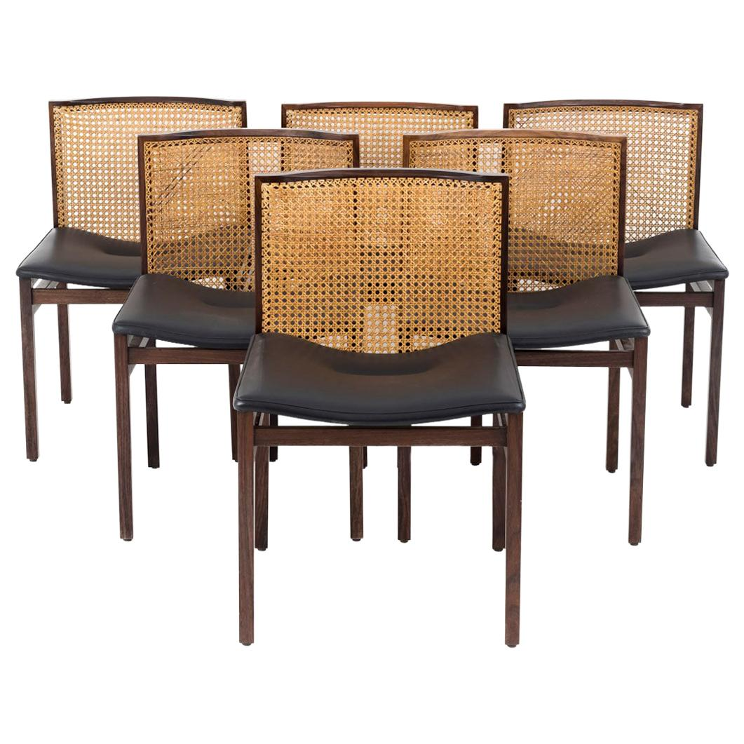 Alfred Hendrickx, Set Of Six Cane Rosewood Chairs, 1960u0027s For Sale