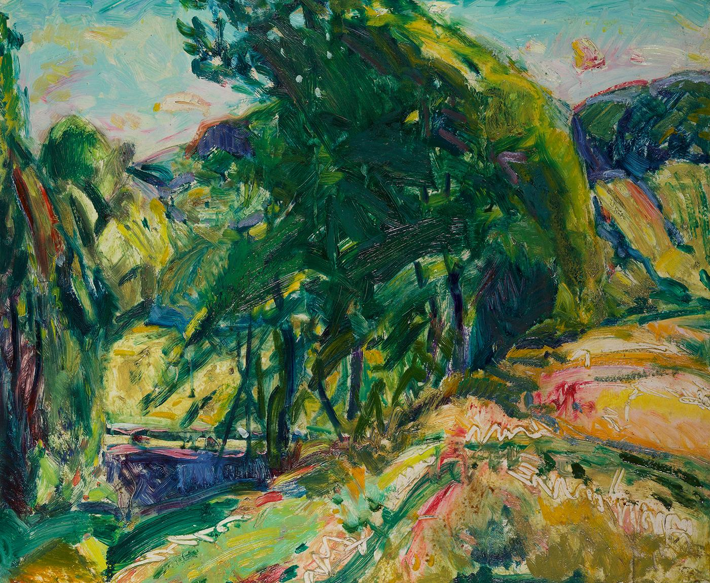 Landscape with Green Tree