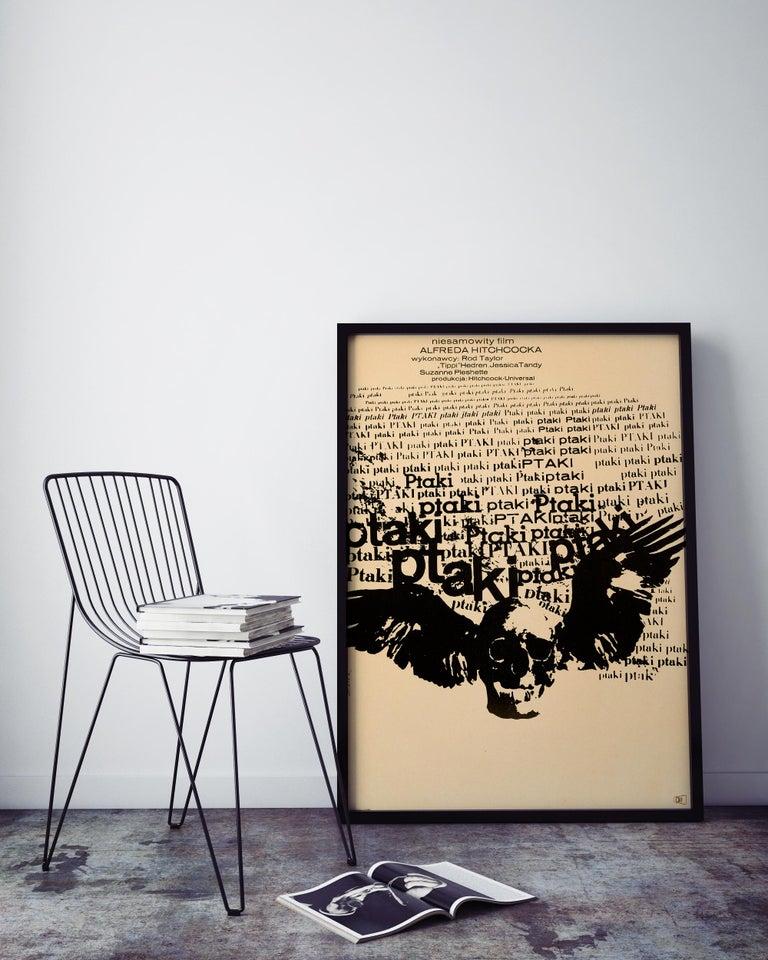 Post-Modern Alfred Hitchcock 'The Birds' Original Vintage Movie Poster, Polish, 1968 For Sale