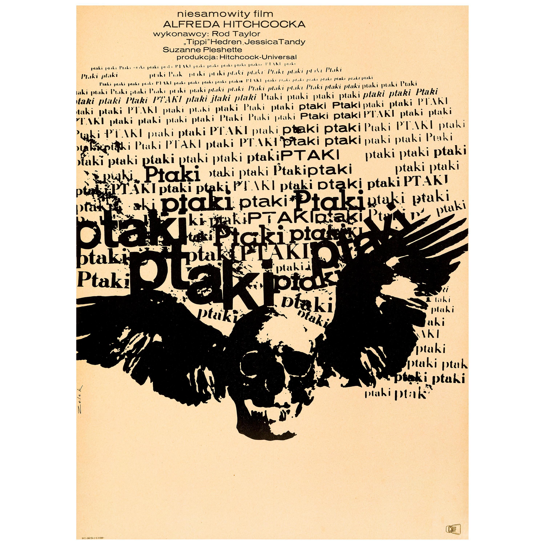 Alfred Hitchcock 'The Birds' Original Vintage Movie Poster, Polish, 1968