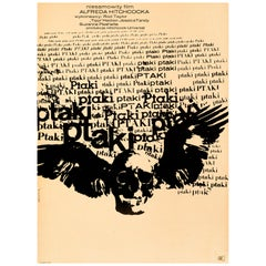 Alfred Hitchcock 'The Birds' Original Vintage Movie Poster, Polish, 1968