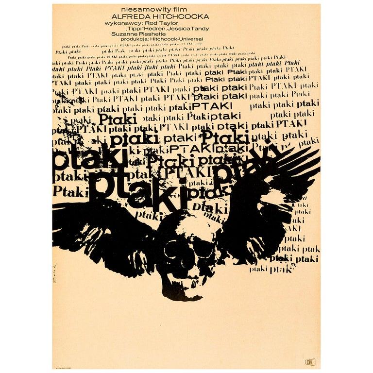 Alfred Hitchcock 'The Birds' Original Vintage Movie Poster, Polish, 1968 For Sale