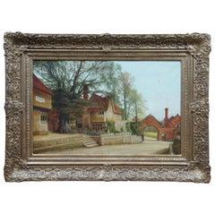 Alfred J Robertson Antique Oil Landscape Painting Village Scene Cityscape