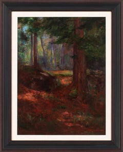 [Untitled Forest Landscape] Oil Painting on Canvas by Alfred Jansson, Framed