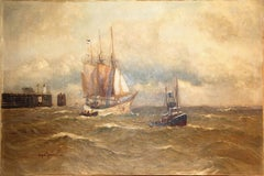 Maritime Oil Painting 19th century, by Prof. Alfred Jensen. Ship and Boat at Sea