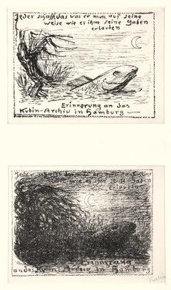 Nachtlicher Sumpf - Original Lithograph by A. Kubin - 1933
