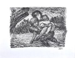 Rettung - Original Lithograph by Alfred Kubin - 1944