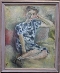 Smiling Girl - Post Impressionist 40's exhibited art portrait oil painting