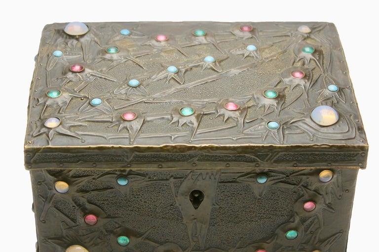 Forged Alfred-Louis-Achille Daguet Art Nouveau Juwel Box, circa 1900s