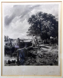"Large Antique Signed Alfred Lucas Engraving of ""The Lock"""