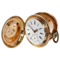 Alfred Lugrin rose gold Minute Repeating Erotic Automaton Hunter Pocket Watch