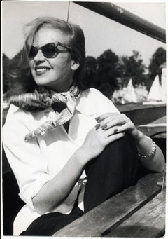 Portrait of Hildegard Knef - Chilling in the sun on a sailing boat