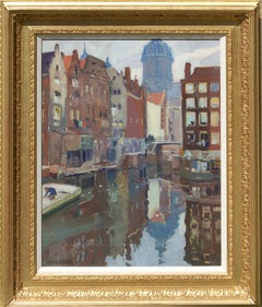 Early 20th century Impressionist view of Amsterdam, canals, a church and barges