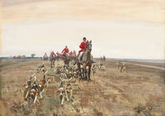 Sir Alfred Munnings Watercolour Titled 'The Hunt'