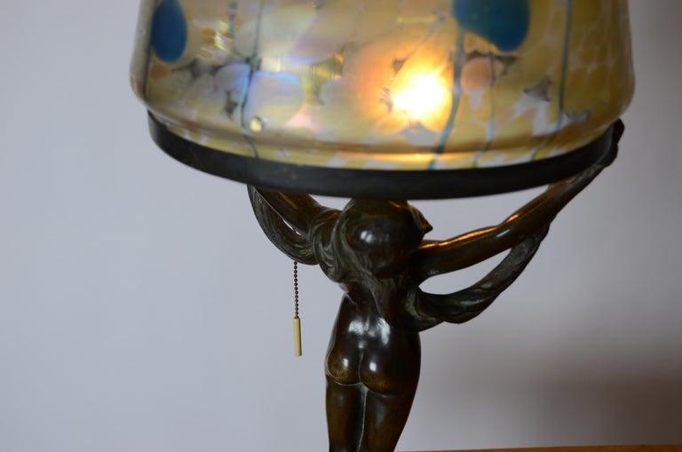 Alfred Ohlson, Table Lamp, Art Nouveau, Herman Bergman, Sweden 1910s For Sale 4