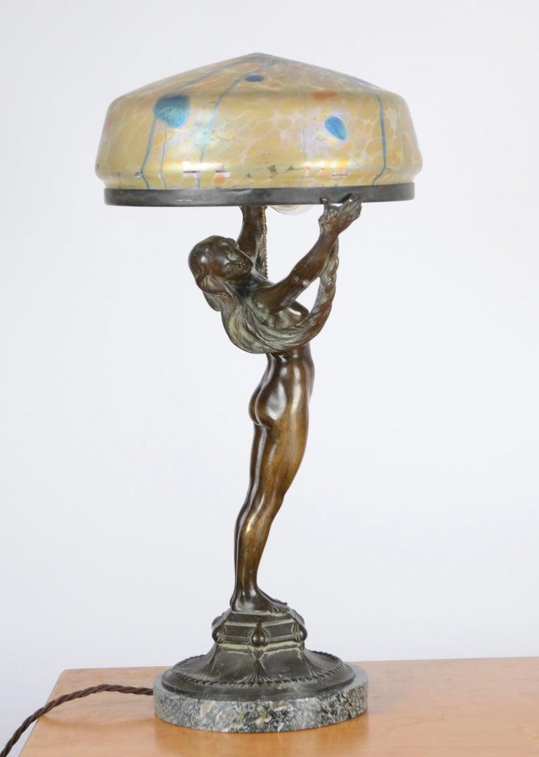 Bronze Alfred Ohlson, Table Lamp, Art Nouveau, Herman Bergman, Sweden 1910s For Sale