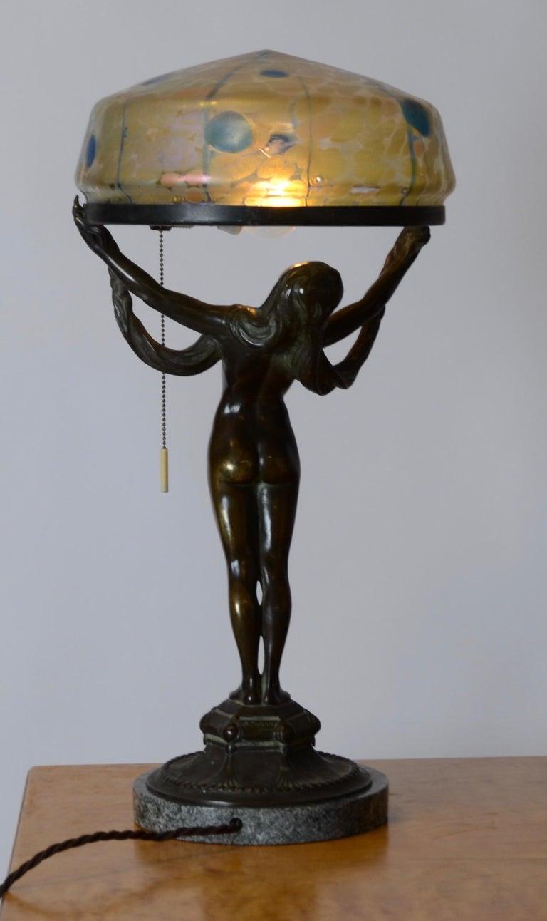 Alfred Ohlson, Table Lamp, Art Nouveau, Herman Bergman, Sweden 1910s For Sale 3