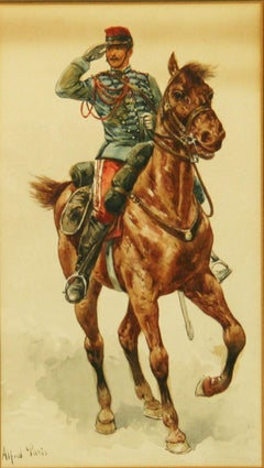 Antique French Equestrian Gouache Painting  Calvary Soldier  1910
