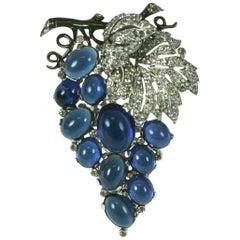 Alfred Philippe for Trifari Sapphire Grape Cluster Fur Clip