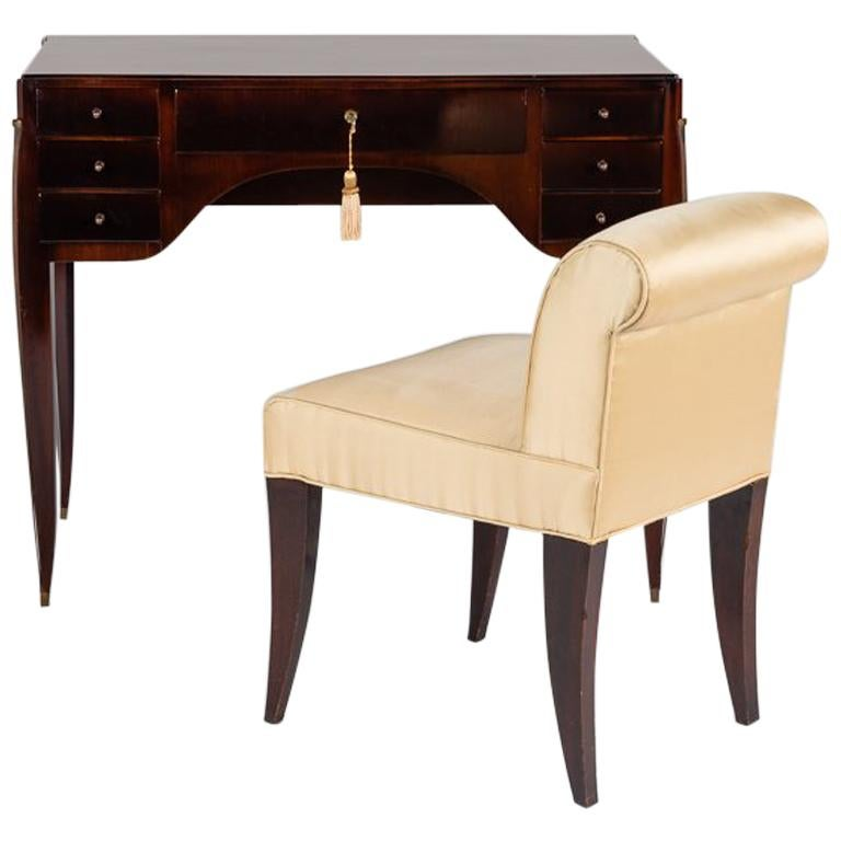 Alfred Porteneuve, Art Deco Writing Table and Chair, France, circa 1935 For Sale