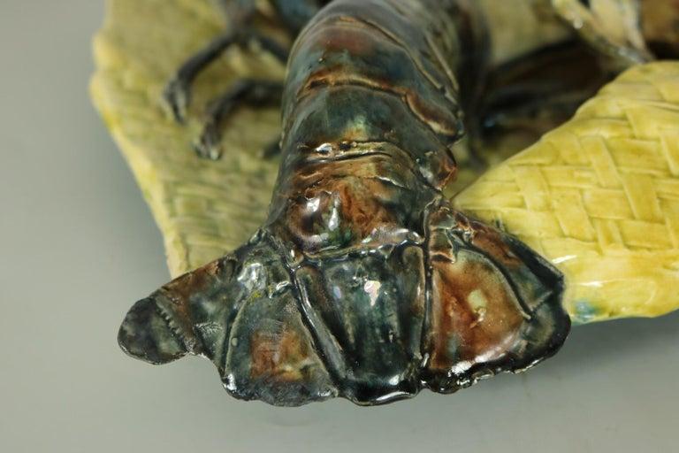 Alfred Reneloeau Palissy Crab & Lobster Wall Pocket For Sale 2