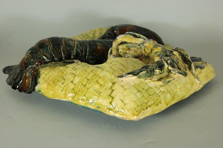Alfred Reneloeau Palissy Crab & Lobster Wall Pocket For Sale 3