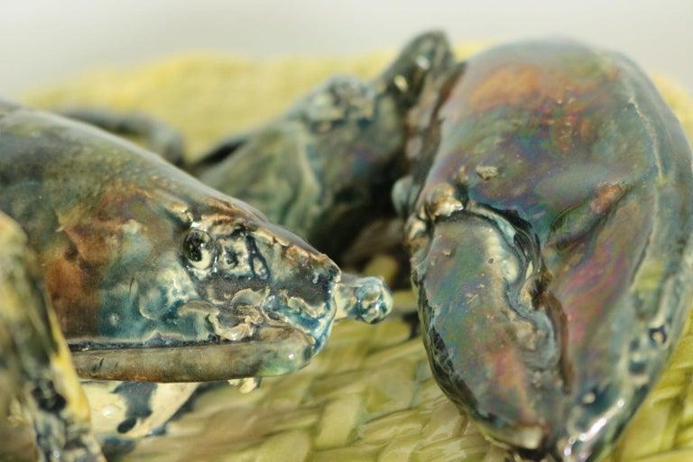 Alfred Reneloeau Palissy Crab & Lobster Wall Pocket For Sale 4