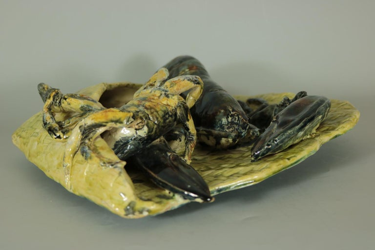 19th Century Alfred Reneloeau Palissy Crab & Lobster Wall Pocket For Sale