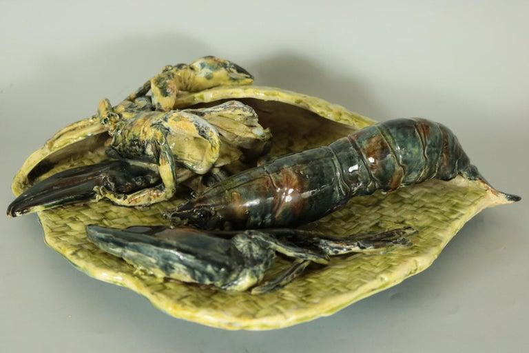 Earthenware Alfred Reneloeau Palissy Crab & Lobster Wall Pocket For Sale