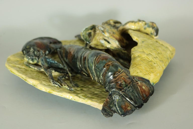 Alfred Reneloeau Palissy Crab & Lobster Wall Pocket For Sale 1