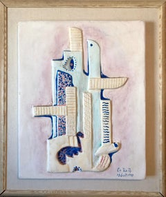 1949 Hungarian Cubism Wall Hanging Relief Sculpture with Enamel Painting Cubist